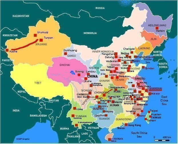 Map of China with indications of places where photos have been made